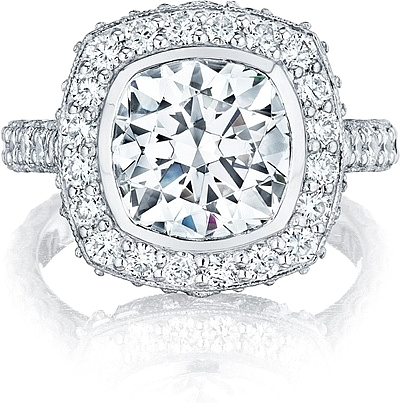 This image shows the setting with a 3.00ct cushion cut center diamond. The setting can be ordered to accommodate any shape/size diamond listed in the setting details section below.