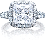 This image shows the ring with a 3.00ct princess cut center diamond but can be ordered to accommodate any shape or size diamond listed below.
