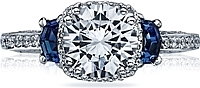 Tacori Sapphire Shield-Cut & Pave Diamond Engagement Ring