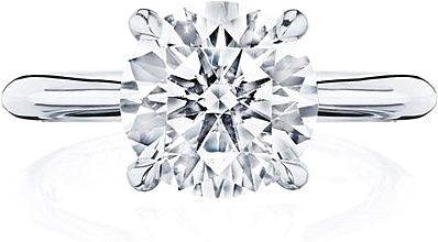 This image shows the setting with a 2.50ct round brilliant cut center diamond. The setting can be ordered to accommodate any shape/size diamond listed in the setting details section below.