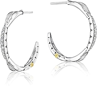 Tacori Sterling Silver Diamond Crescent Hoop Earrings