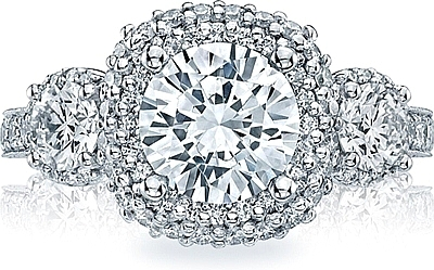 This image shows the setting with a 2.25ct cushion cut center diamond. The setting can be ordered to accommodate any shape/size diamond listed in the setting details section below.