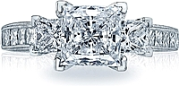 Tacori Three Stone Princess Cut Diamond Engagement Ring