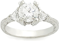 Tacori Trillion Cut Diamond Engagement Ring