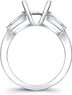 This image shows the setting with a basket made to hold a 1.50ct round brilliant cut center diamond. The setting can be ordered to accommodate any shape/size diamond listed in the setting details section below.