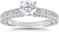 Three Sided Pave Diamond Engagement Ring w/ Milgrain