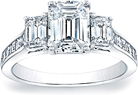 Three Stone Emerald Cut Engagement Ring w/ Square Emerald Channel-Set Side Stones