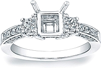 Three stone Princess Cut Engagement Ring w/ Pave Accents