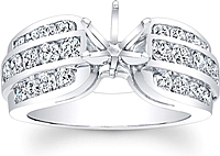 Triple Row Channel Set Diamond Engagement Ring