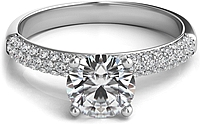 Triple Row Pave Diamond Engagement Ring
