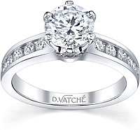 Vatche Channel Set Six Prong Diamond Engagement Ring