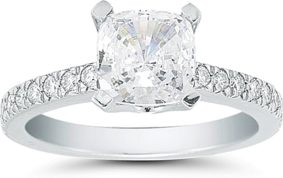 This image shows the setting with a 1.50ct cushion cut center diamond. The setting can be ordered to accommodate any shape/size diamond listed in the setting details section below.