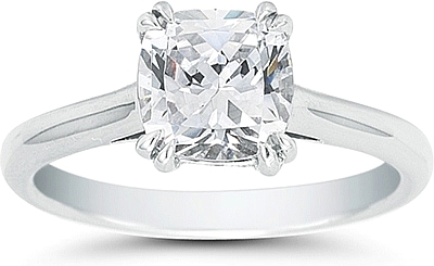 This image shows the setting with a 1.25ct cushion cut cut center diamond. The setting can be ordered to accommodate any shape/size diamond listed in the setting details section below.