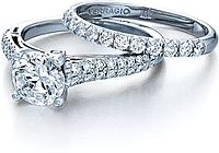 Verragio Engagement Ring with Two Rows of Pave Diamonds