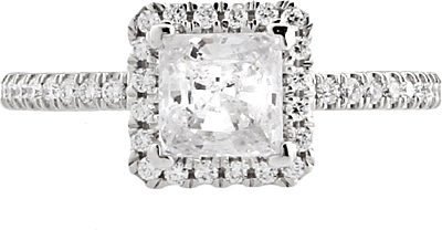 This image shows the setting with a 1ct princess cut center diamond. The setting can be ordered to accommodate any shape/size diamond listed in the setting details section below.