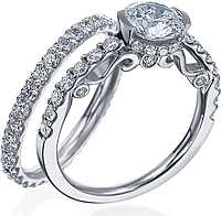 Verragio Shared-Prong Engagement Ring with Diamond Basket