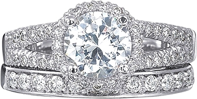 Verragio Split Shank Pave Diamond Engagement Ring With Halo Par 3063r
