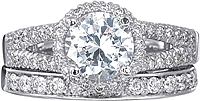 Verragio Split Shank Pave Diamond Engagement Ring with Halo